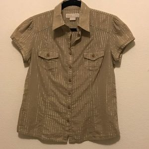 Tan and gold striped button Micheal Kors blouse